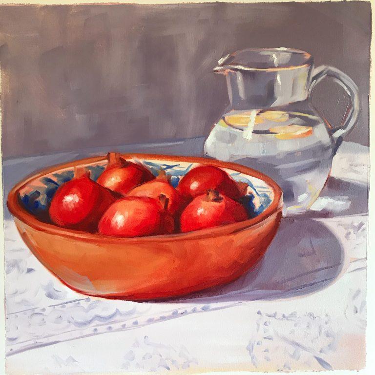 still life, painting, pomegranates