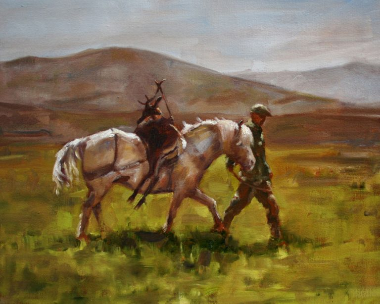art print balmoral stalking highland pony scotland