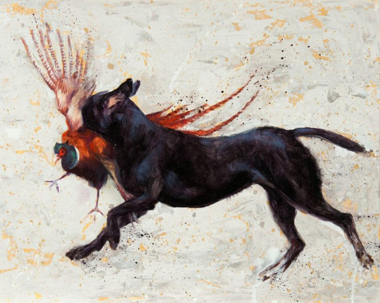 art print black labrador contemporary painting retrieving gundog