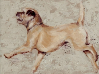 art print border terrier painting