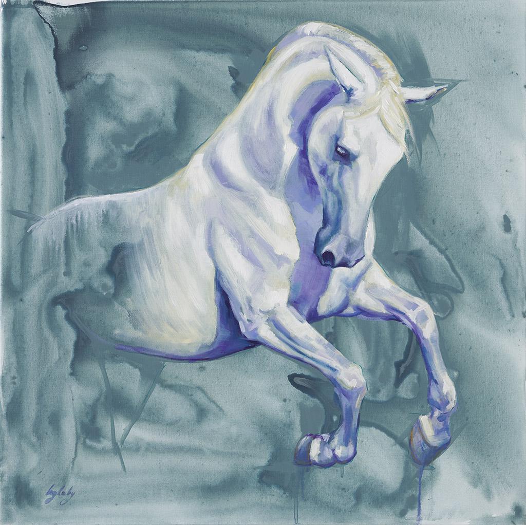 art print of white horse