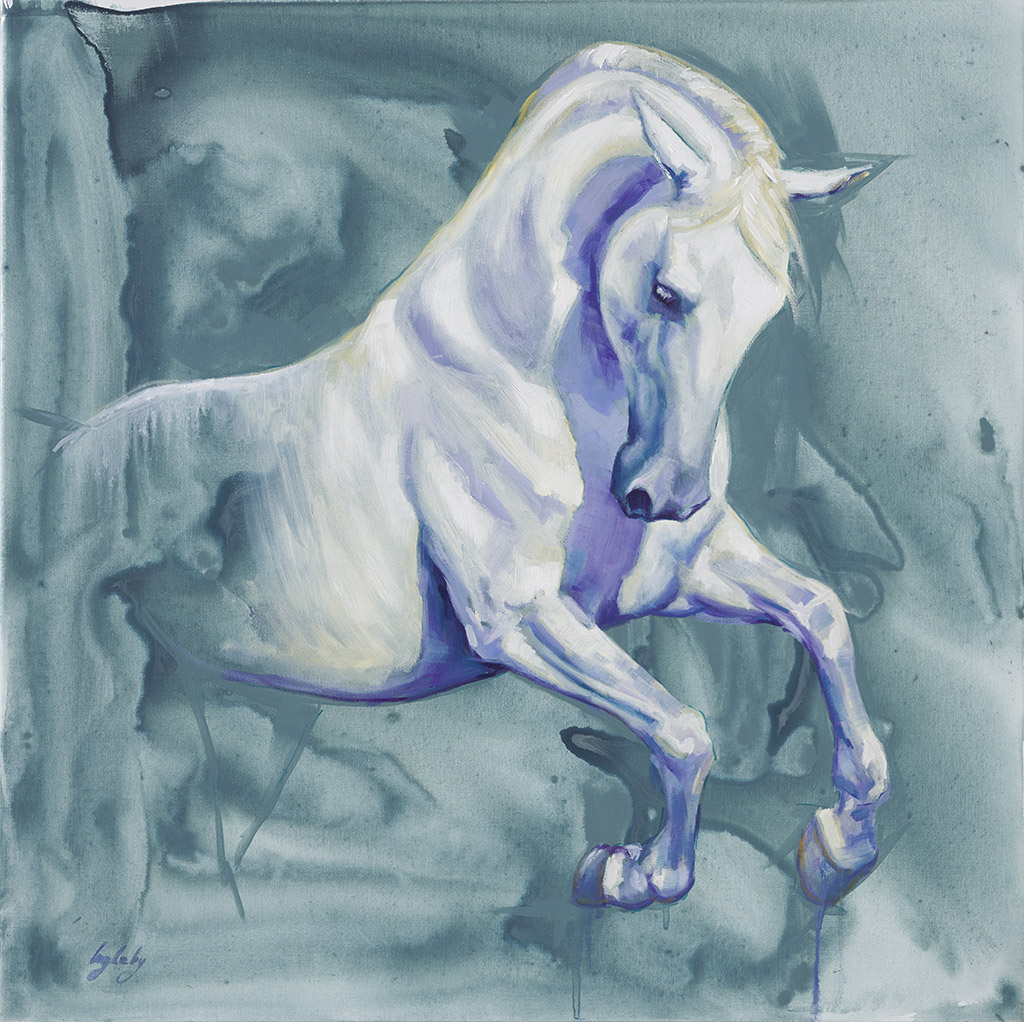 equine painting of white andalusian horse