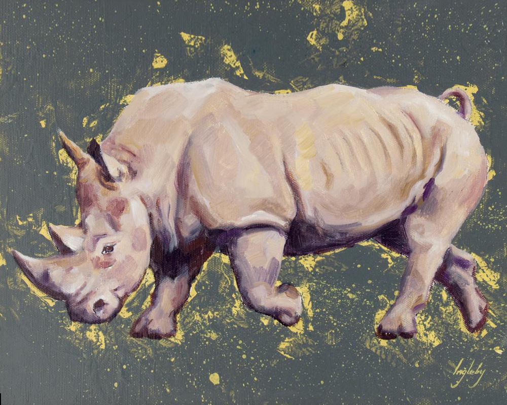 art print wildlife rhino contemporary painting