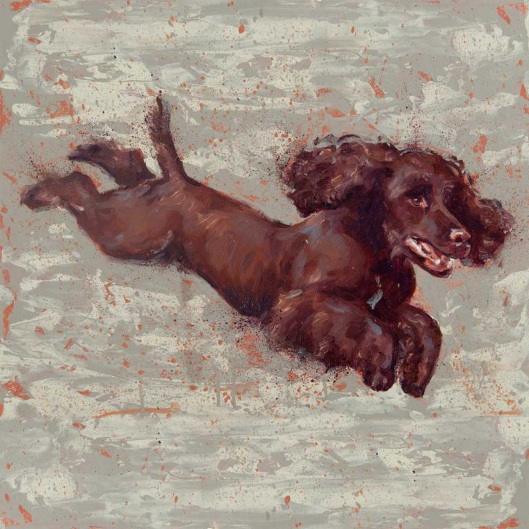 art print cocker spaniel brown painting