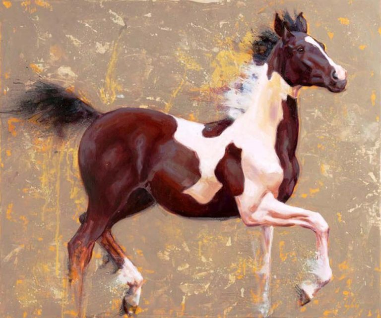 oil painting of a skewbald or coloured horse