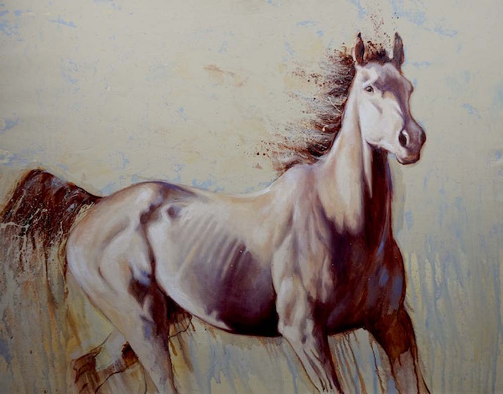 oil painting of a grey thoroughbred horse