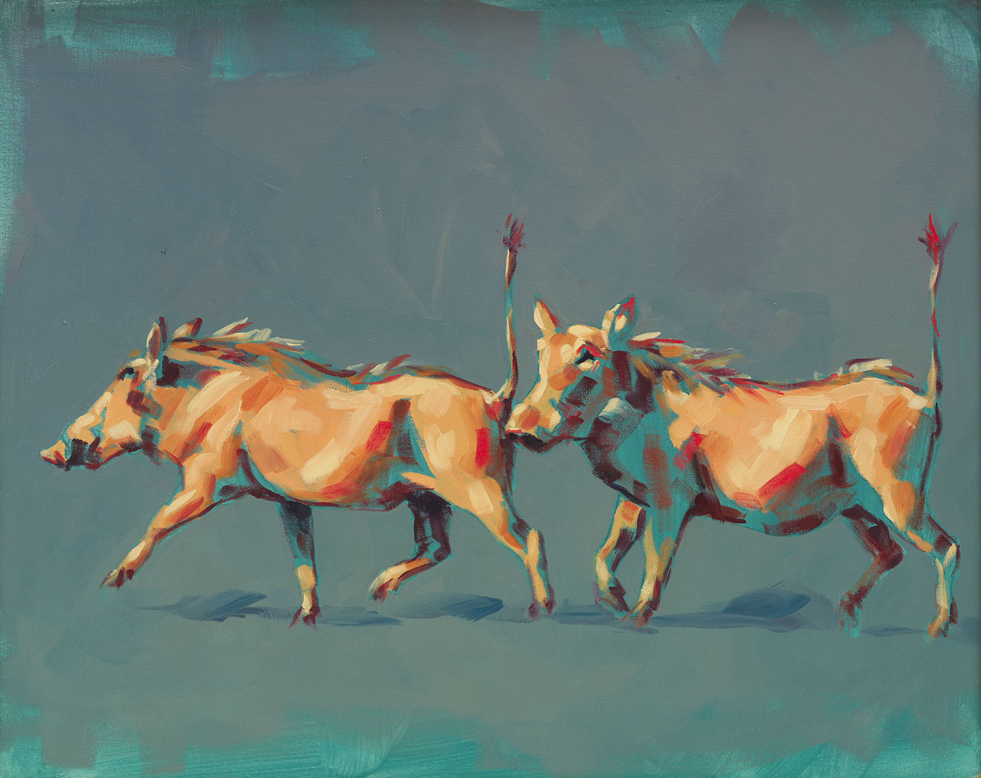 warthog oil painting