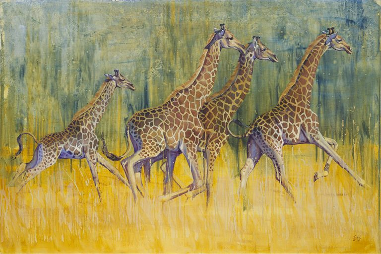 art print from giraffes oil painting