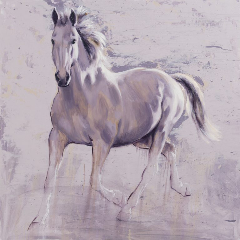 White horse oil painting contemporary art