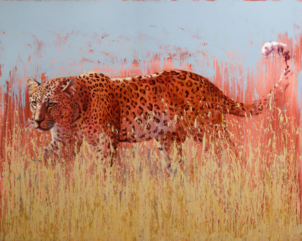 leopard painting, oil on canvas art