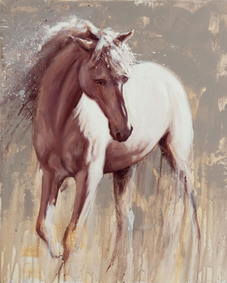 oil painting of a white grey horse