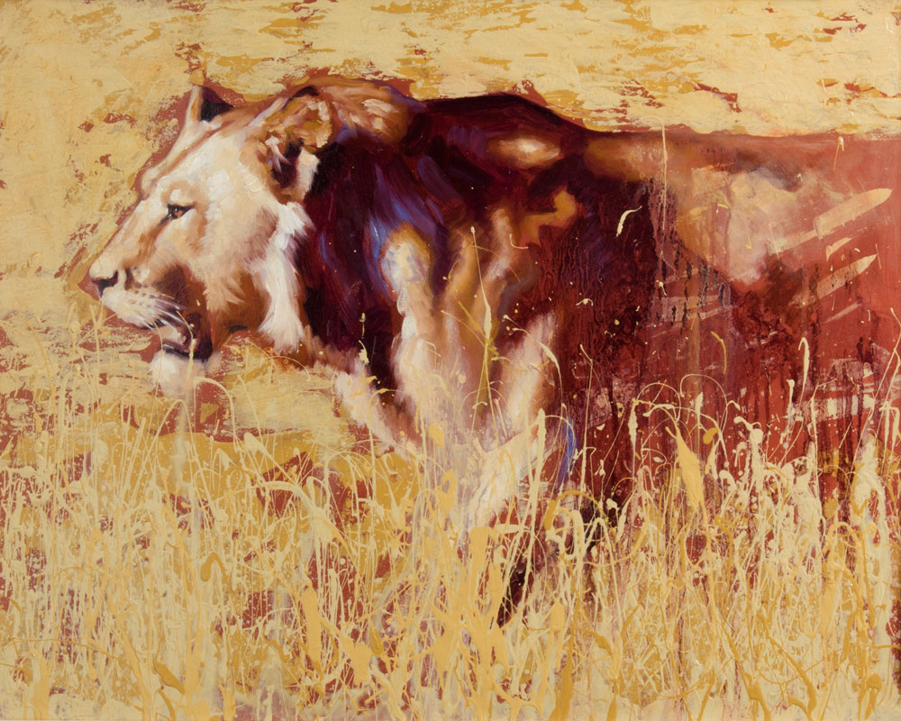 art print wildlife lion oil painting contemporary