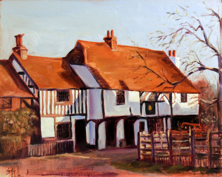 bell inn waltham st lawrence oil painting pub english