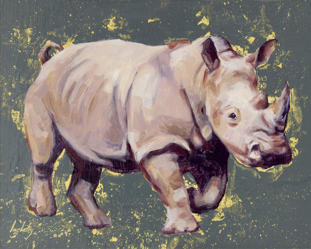 art print wildlife rhino painting