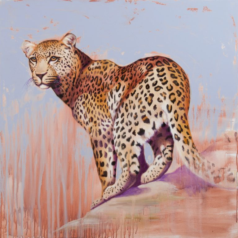 leopard painting, oil on canvas