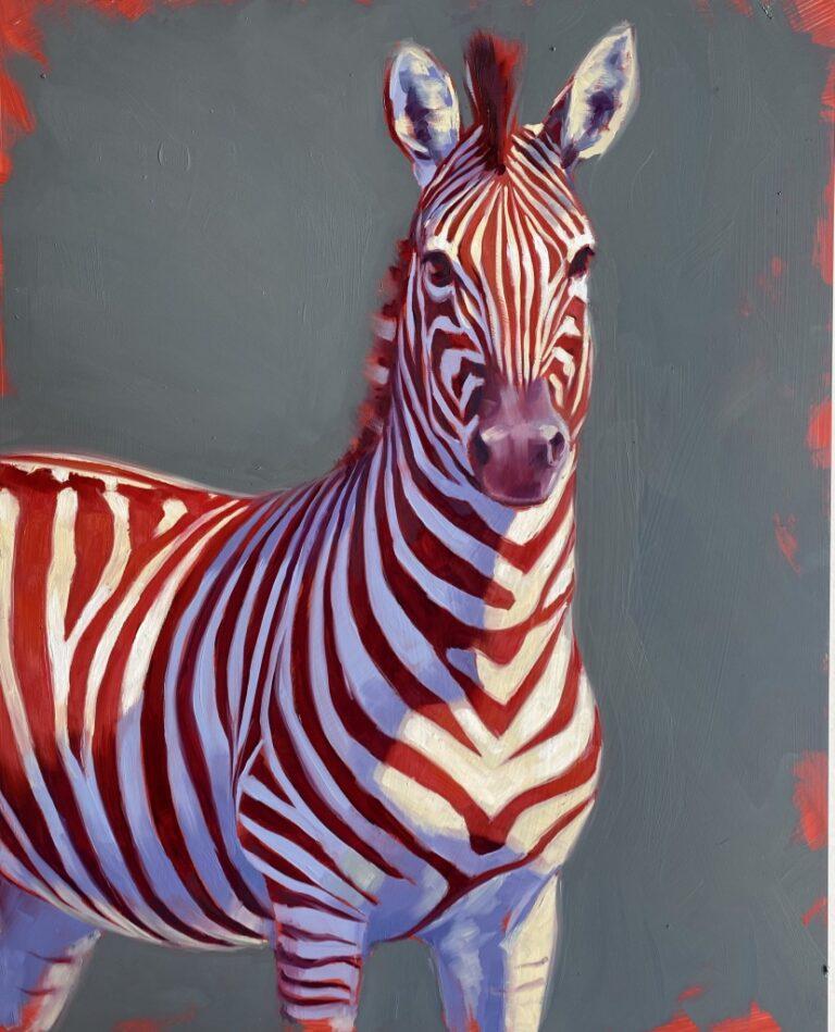 zebra art painting, oil painting, safari, wildlife art,