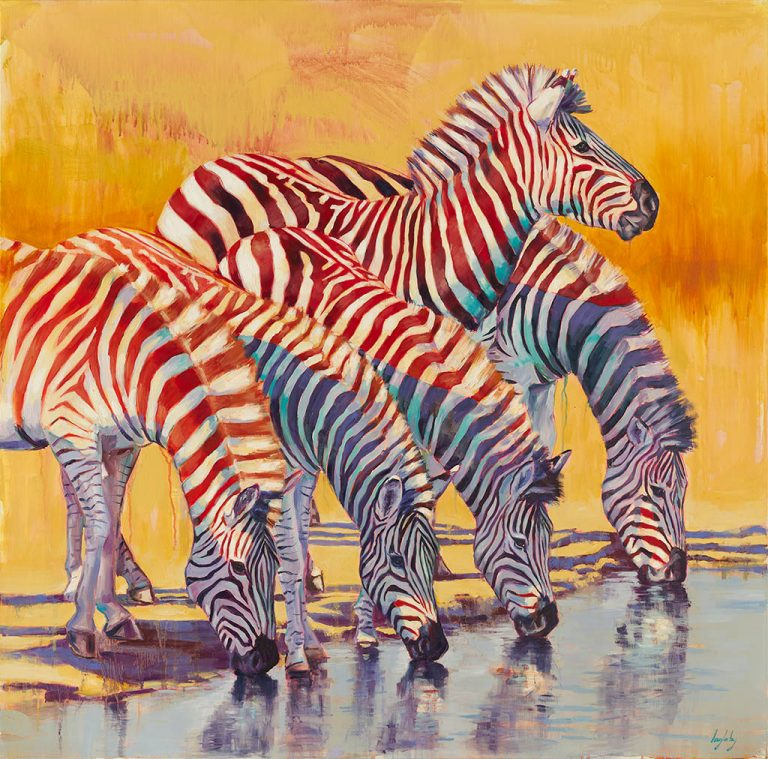 zebras, wildlife painting, colourful and contemporary