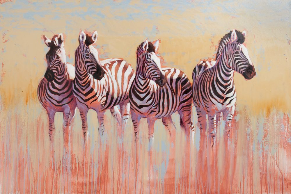 zebra oil painting contemporary wildlife art
