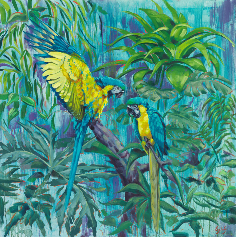 macaw, macaw parrot, jungle, wildlife, painting, parrot,